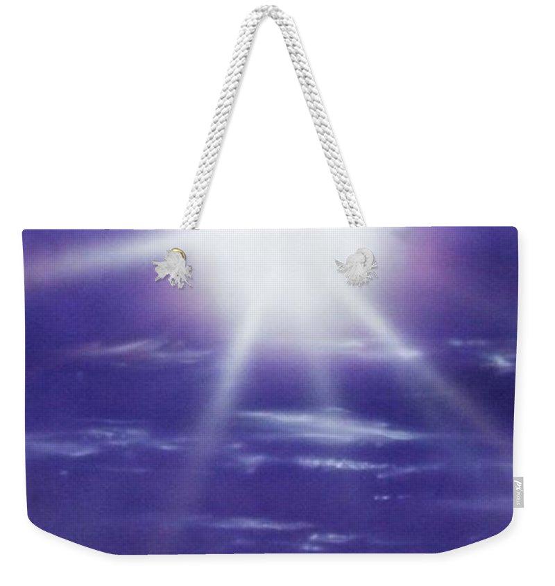 Ocean Art Weekender Tote Bag featuring the painting Purple Aura II by Christian Chapman Art