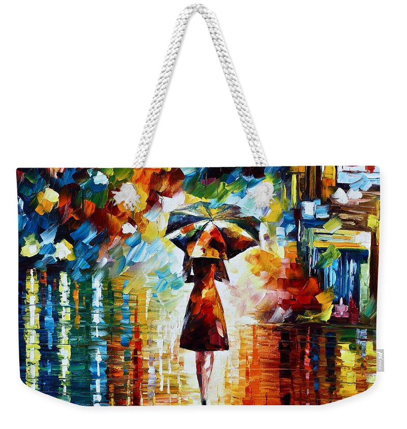 Rain Weekender Tote Bag featuring the painting Rain Princess - Palette Knife Landscape Oil Painting On Canvas By Leonid Afremov by Leonid Afremov