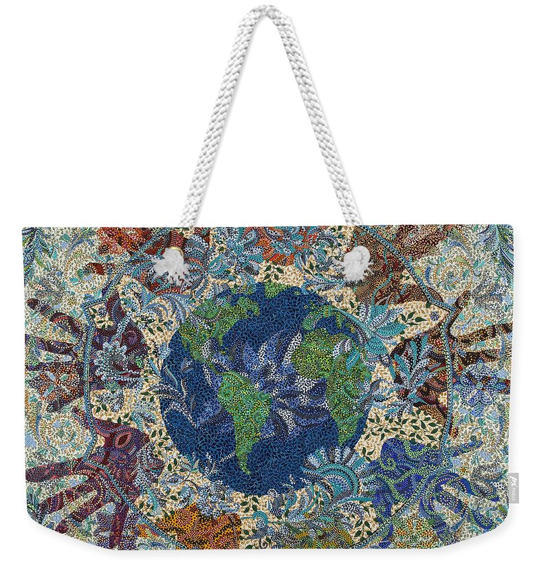 Peace Weekender Tote Bag featuring the painting Reach Out by Erika Pochybova