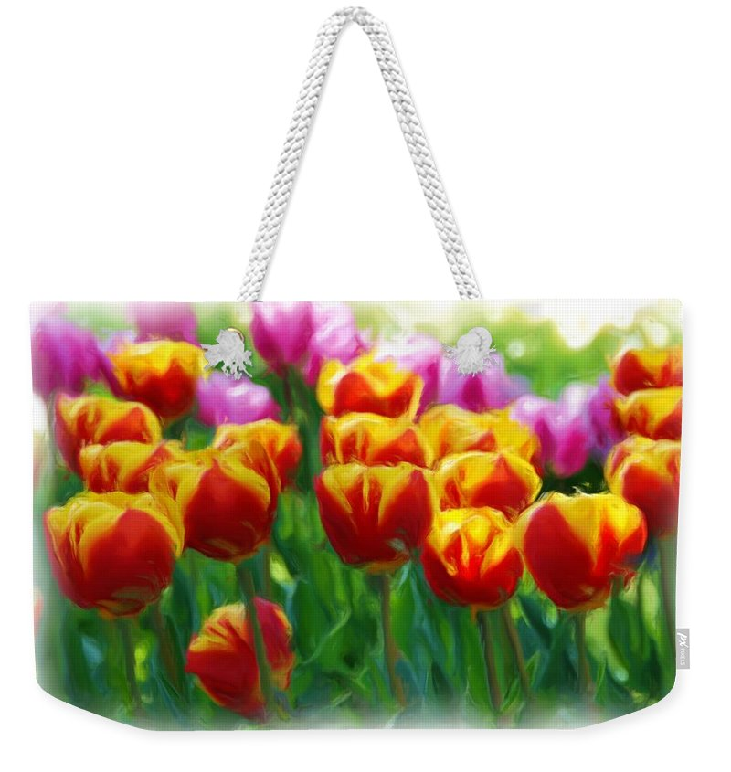 Digital Painting Weekender Tote Bag featuring the mixed media Red And Yellow Tulips by Allen Beatty