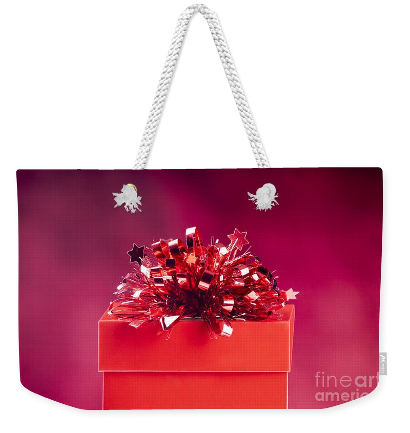 Anniversary Weekender Tote Bag featuring the photograph Red Gift Box by Tim Hester