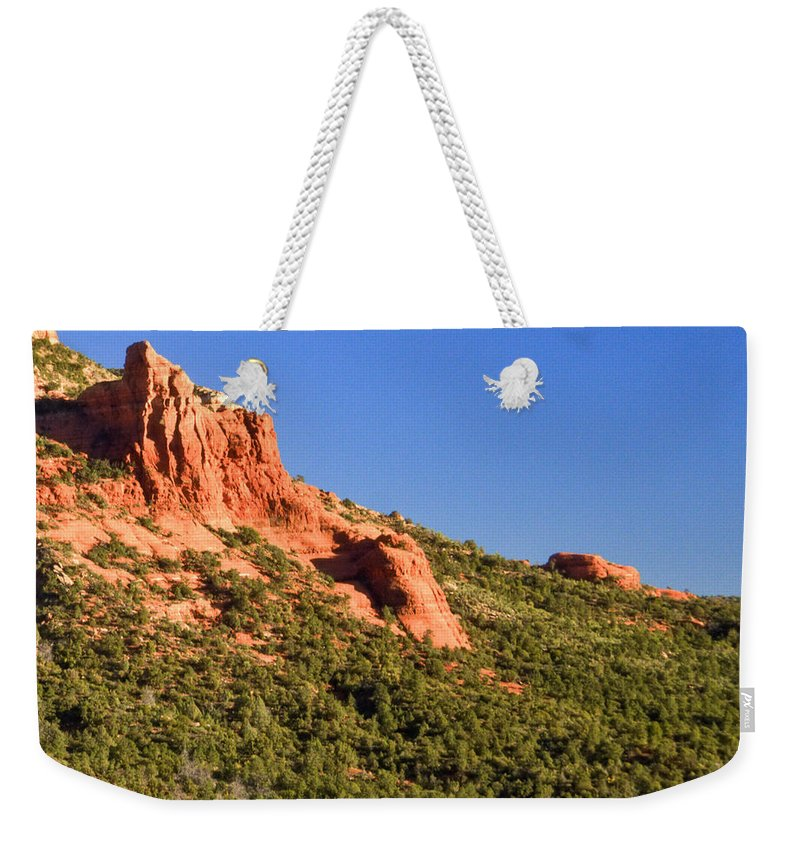 Red Weekender Tote Bag featuring the photograph Red Rock Formation Sedona Arizona 27 by Douglas Barnett