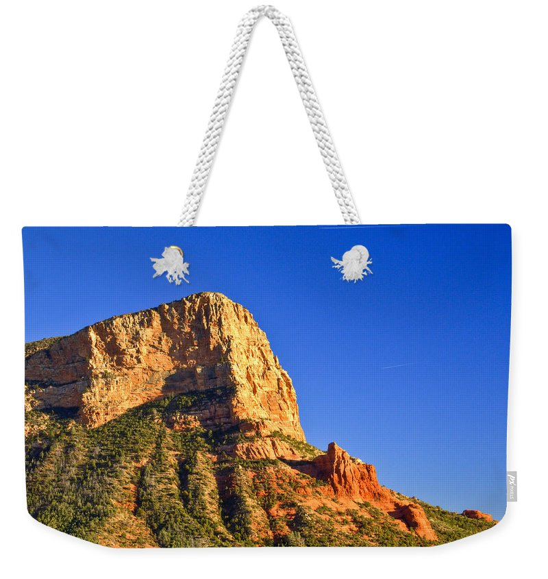 Red Weekender Tote Bag featuring the photograph Red Rock Formation Sedona Arizona 28 by Douglas Barnett