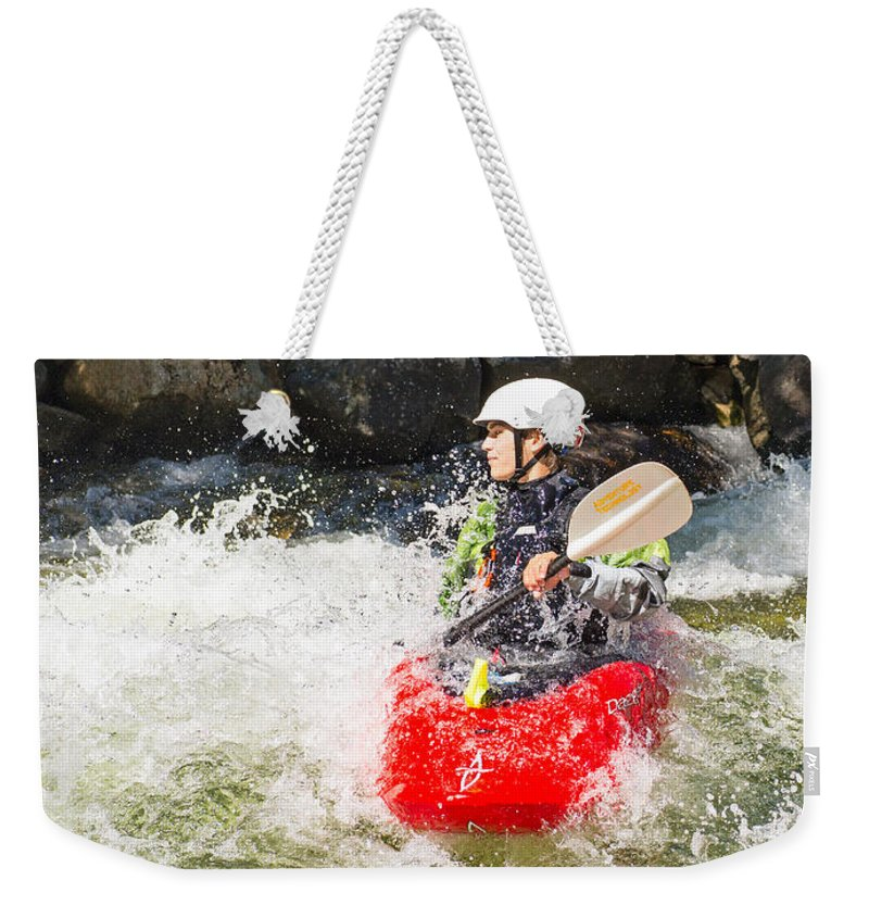 Kayak Weekender Tote Bag featuring the photograph Red Whitewater Kayak by Les Palenik