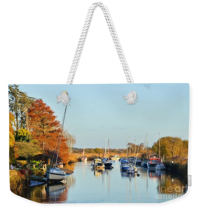 Wareham Weekender Tote Bag featuring the photograph River Frome At Wareham by Susie Peek
