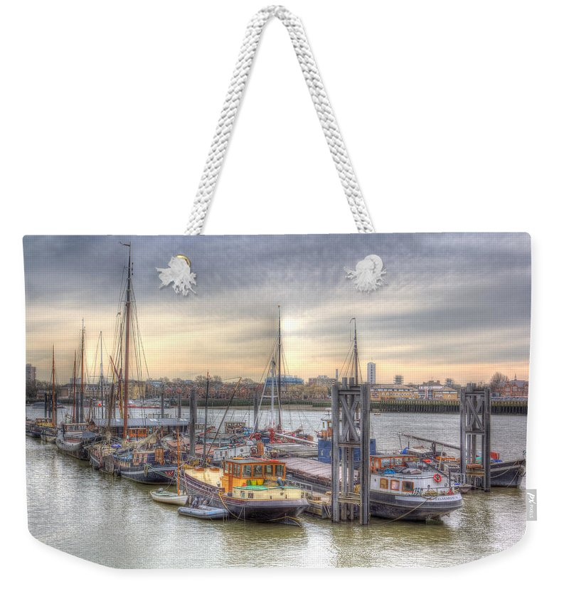 River Thames Weekender Tote Bag featuring the photograph River Thames Boat Community by David Pyatt