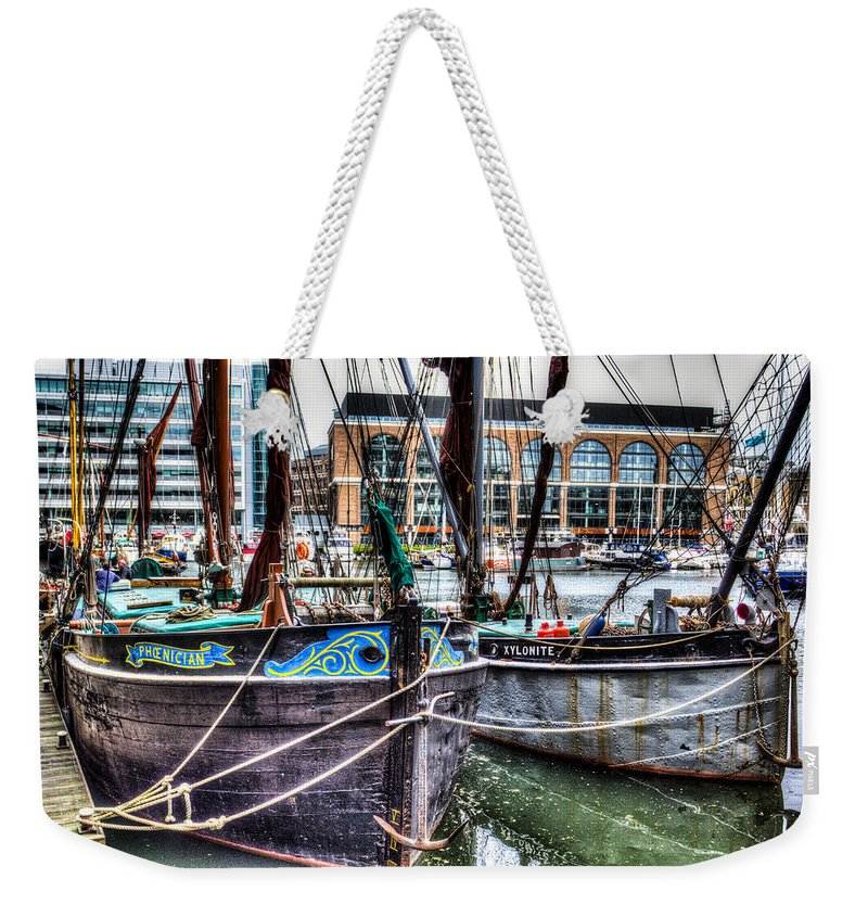 London Weekender Tote Bag featuring the photograph River Thames Sailing Barges. by David Pyatt