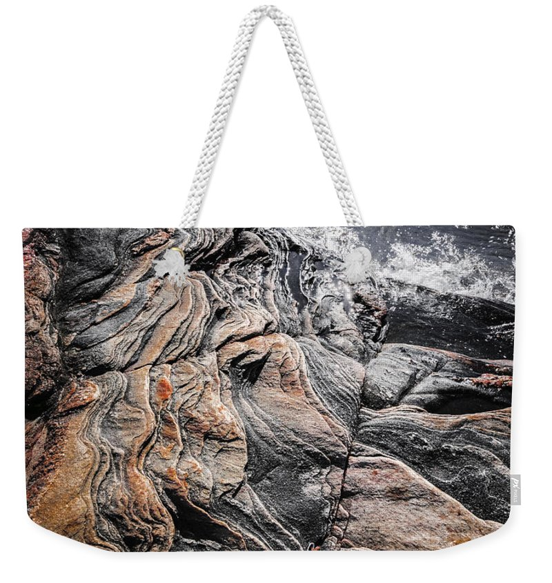 Rocks Weekender Tote Bag featuring the photograph Rock Formations At Georgian Bay by Elena Elisseeva