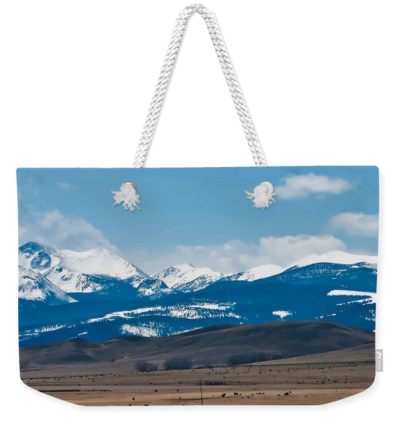 Colors Weekender Tote Bag featuring the photograph Rocky Mountains Road by Alex Grichenko