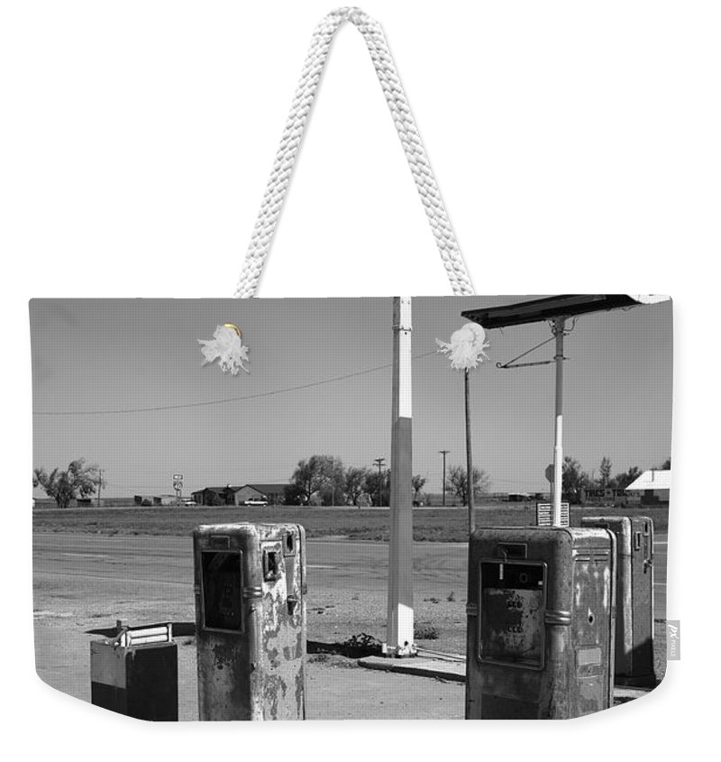 66 Weekender Tote Bag featuring the photograph Route 66 Gas Pumps by Frank Romeo