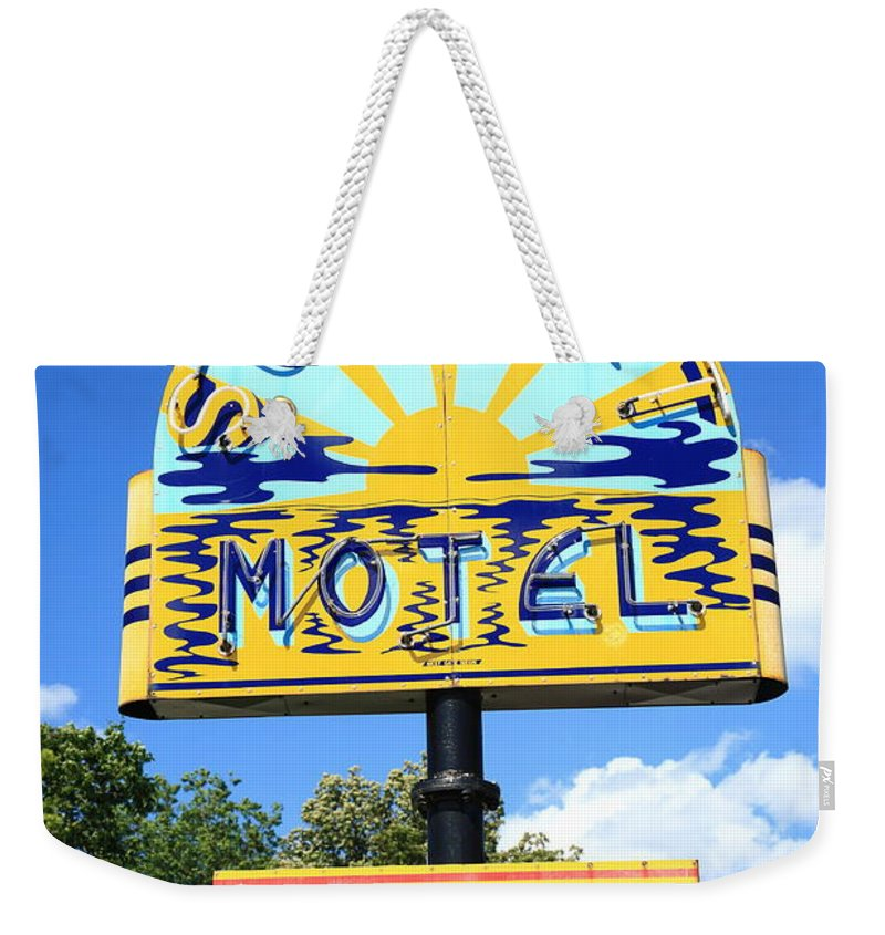 66 Weekender Tote Bag featuring the photograph Route 66 - Sunset Motel by Frank Romeo
