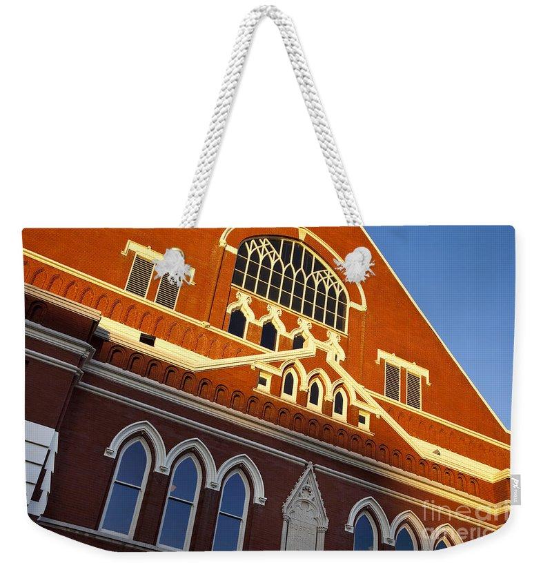 Ryman Auditorium Weekender Tote Bag featuring the photograph Ryman Auditorium by Brian Jannsen