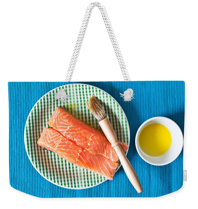 Blue Weekender Tote Bag featuring the photograph Salmon Fillets by Tom Gowanlock