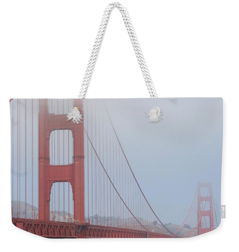 San Francisco Weekender Tote Bag featuring the photograph San Francisco - Golden Gate Bridge by Christiane Schulze Art And Photography
