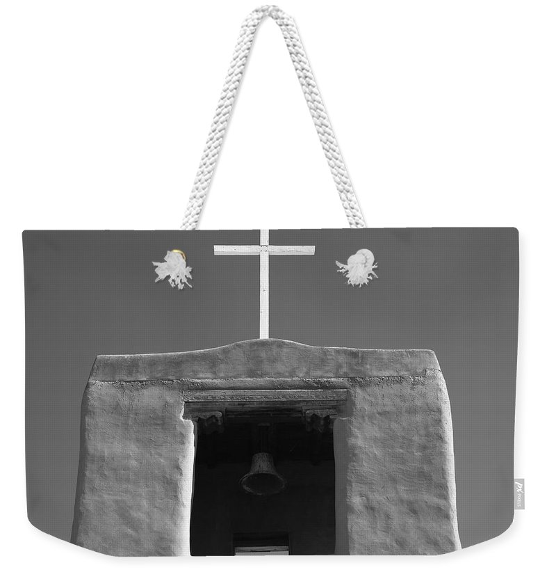 66 Weekender Tote Bag featuring the photograph Santa Fe - San Miguel Chapel by Frank Romeo