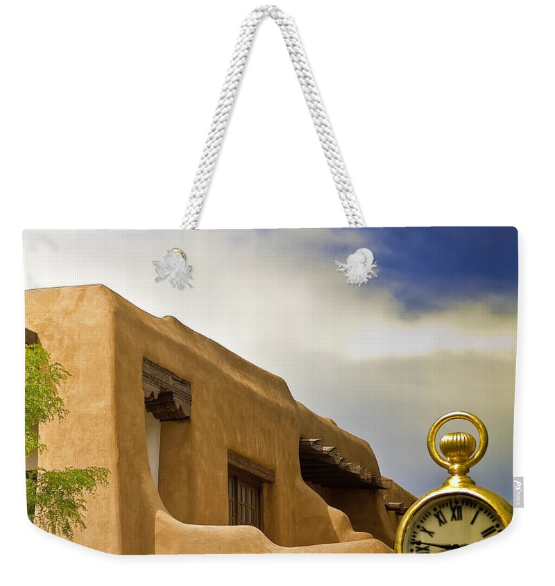 Adobe Weekender Tote Bag featuring the photograph Santa Fe Time by Madeline Ellis
