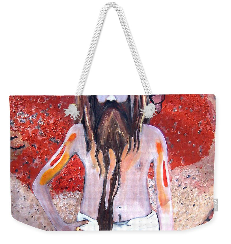 Figure Weekender Tote Bag featuring the painting Shaman by Scott Bowlinger