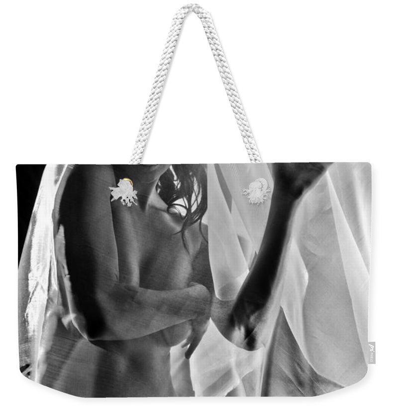 Position Weekender Tote Bag featuring the photograph Sheer Nude by Jt PhotoDesign