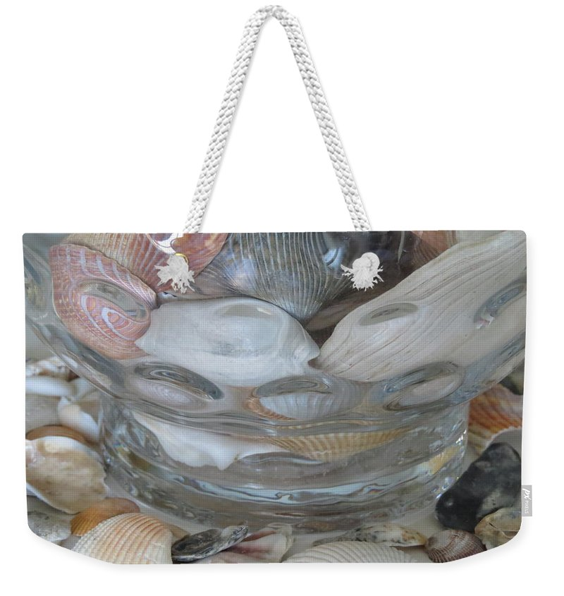 Shell Weekender Tote Bag featuring the photograph Shells In Bubble Bowl 2 by Ellen Meakin