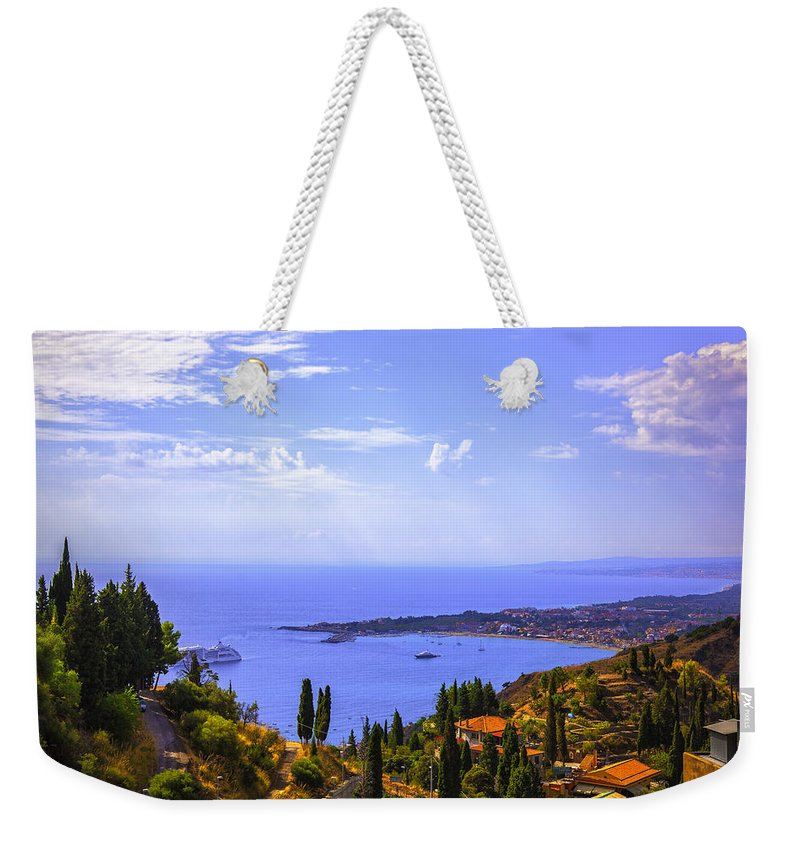 Mediterranean Weekender Tote Bag featuring the photograph Sicily View by Madeline Ellis