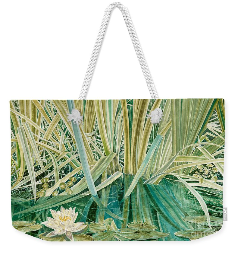 Waterscape Weekender Tote Bag featuring the painting Silent Contempt by John Wilson
