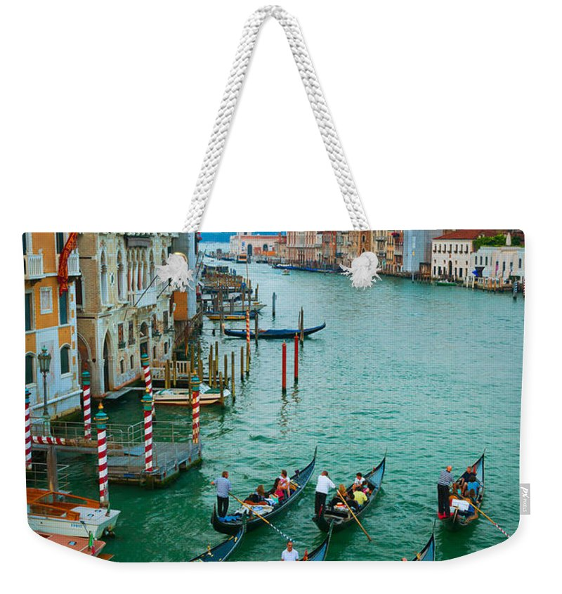 Canal Grande Weekender Tote Bag featuring the photograph Six Gondolas by Inge Johnsson