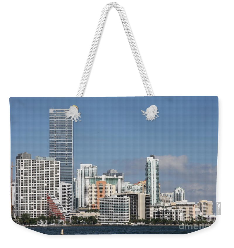 Miami Weekender Tote Bag featuring the photograph Skyline Miami by Christiane Schulze Art And Photography