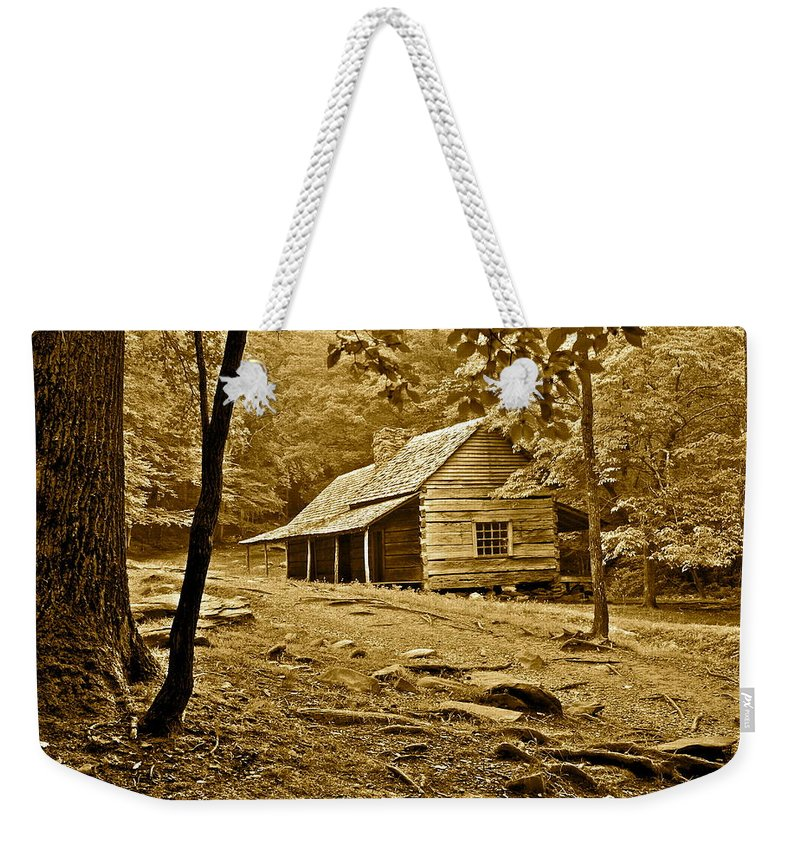 Smoky Weekender Tote Bag featuring the photograph Smoky Mountain Cabin by Frozen in Time Fine Art Photography