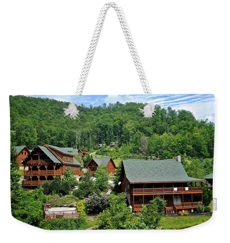 Cabins Weekender Tote Bag featuring the photograph Smoky Mountain Cabins by Frozen in Time Fine Art Photography