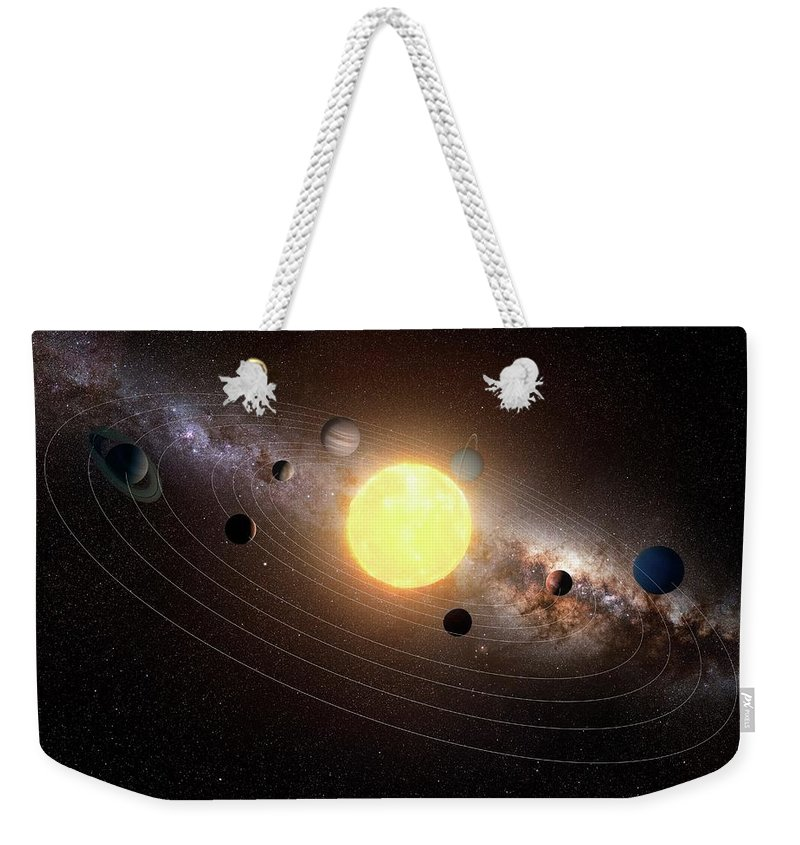 Black Background Weekender Tote Bag featuring the digital art Solar System, Artwork by Sciepro