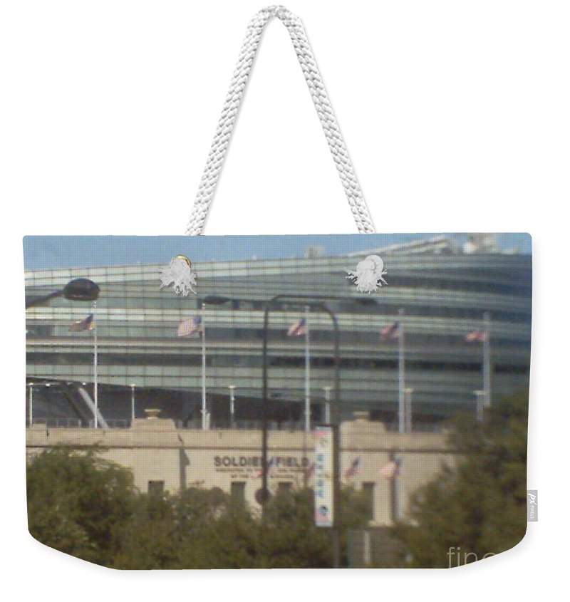 Soldier Field Weekender Tote Bag featuring the photograph Soldier Field by Alfie Martin