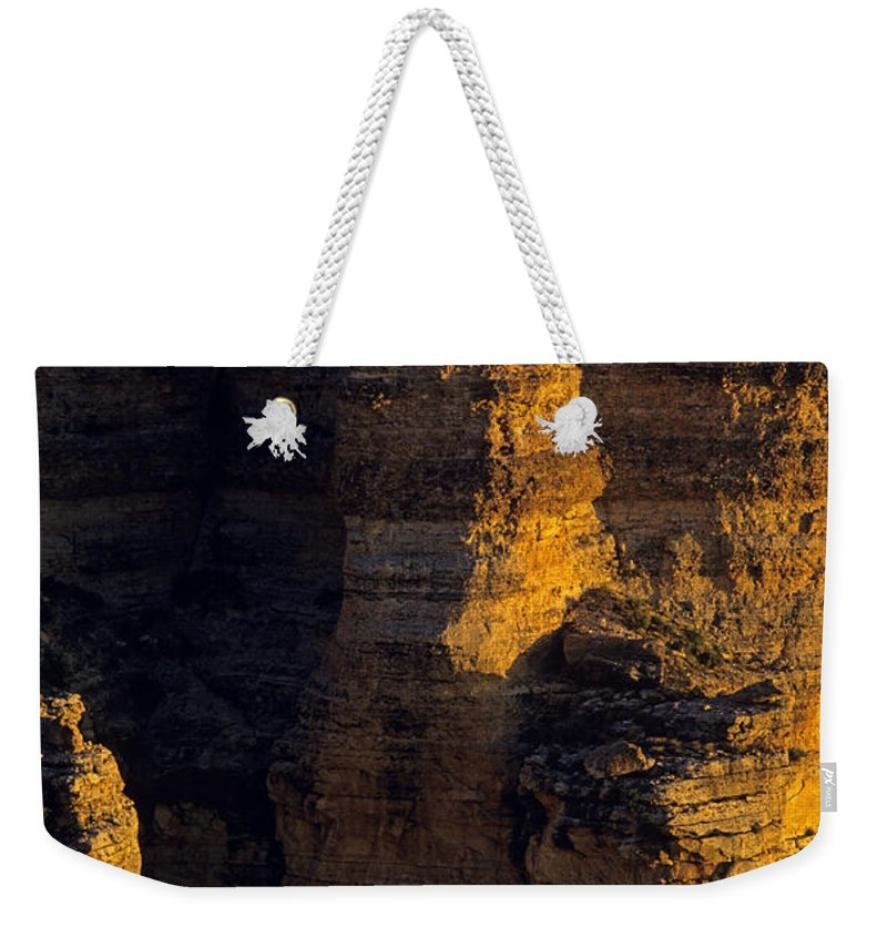 Grand Canyon National Park Weekender Tote Bag featuring the photograph South Rim Grand Canyon Taken Near Mather Point Sunrise Light On by Jim Corwin