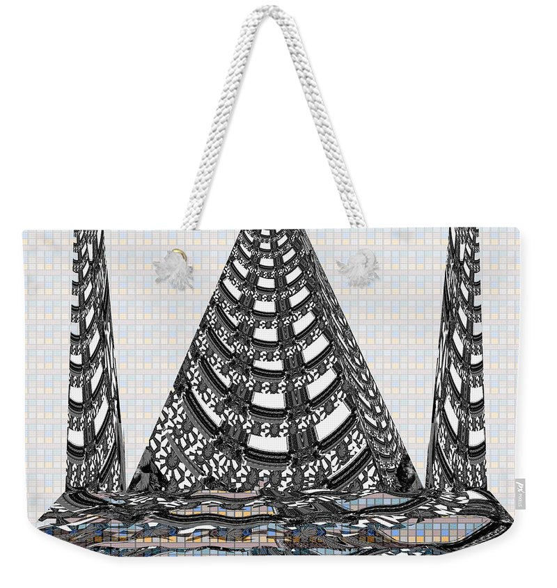 Pyramid Weekender Tote Bag featuring the mixed media Sparkle Bnw White Pyramid Dome Ancient Arch Architecture Formation Obtained During Deep Meditation W by Navin Joshi