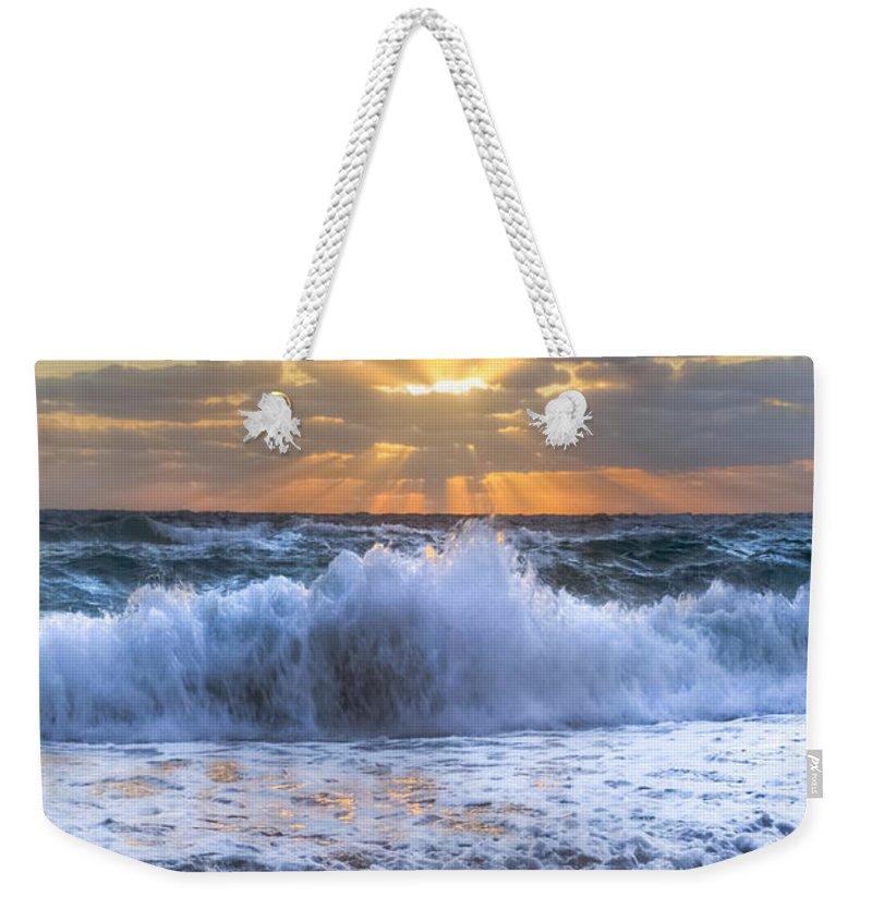 Boats Weekender Tote Bag featuring the photograph Splash Sunrise by Debra and Dave Vanderlaan