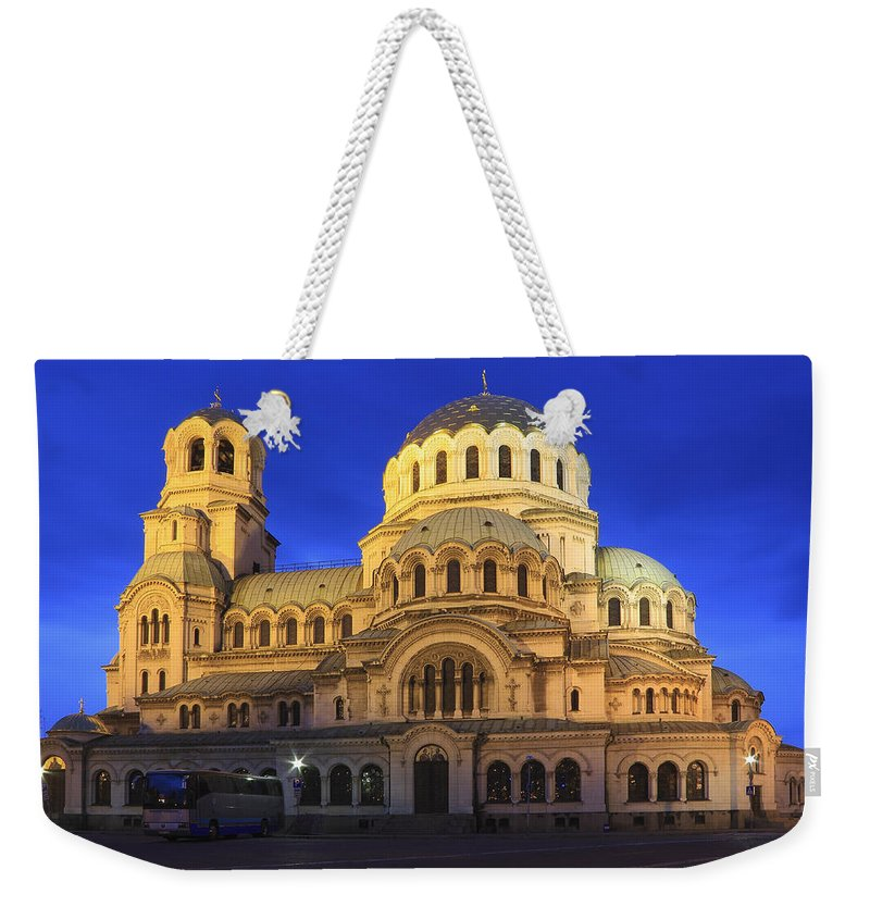 Architecture Weekender Tote Bag featuring the photograph St Alexander Nevsky Cathedral At Dusk Sofia Bulgaria by Ivan Pendjakov