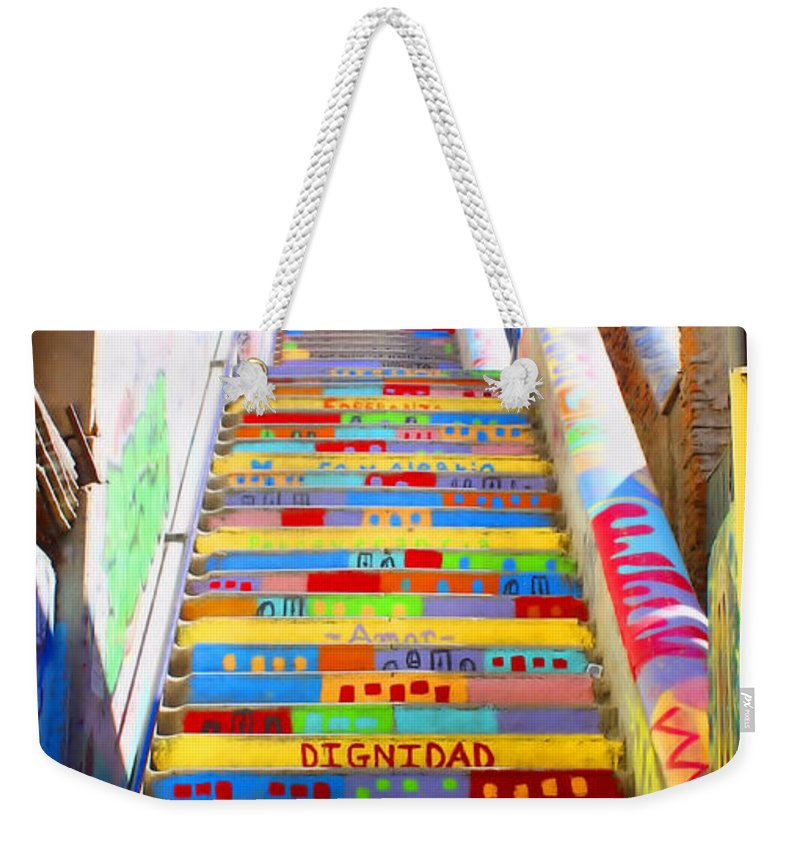 Valparaiso Weekender Tote Bag featuring the photograph Stairway To Heaven Valparaiso Chile by Kurt Van Wagner