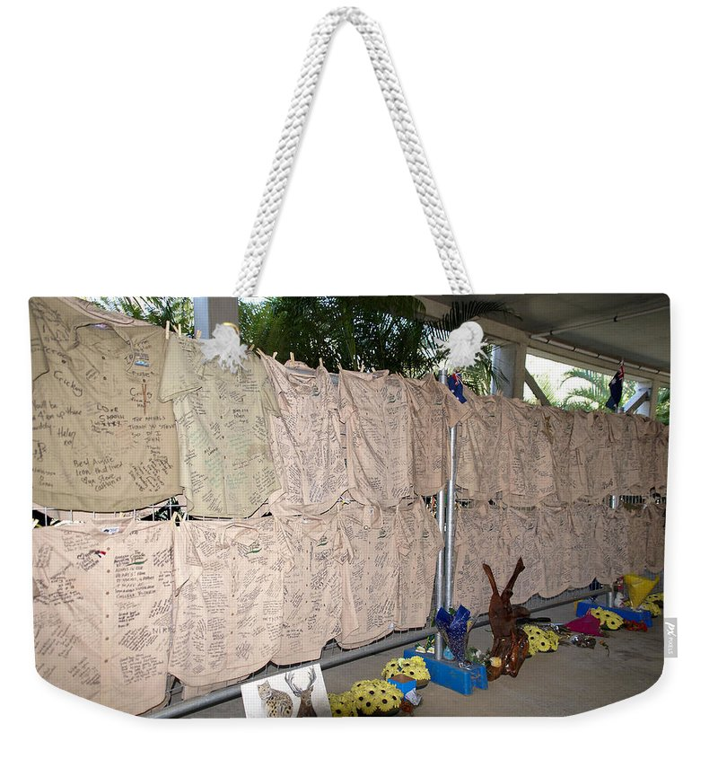 Australia Queensland Qld Weekender Tote Bag featuring the digital art Steve Irwin Memorial by Carol Ailles