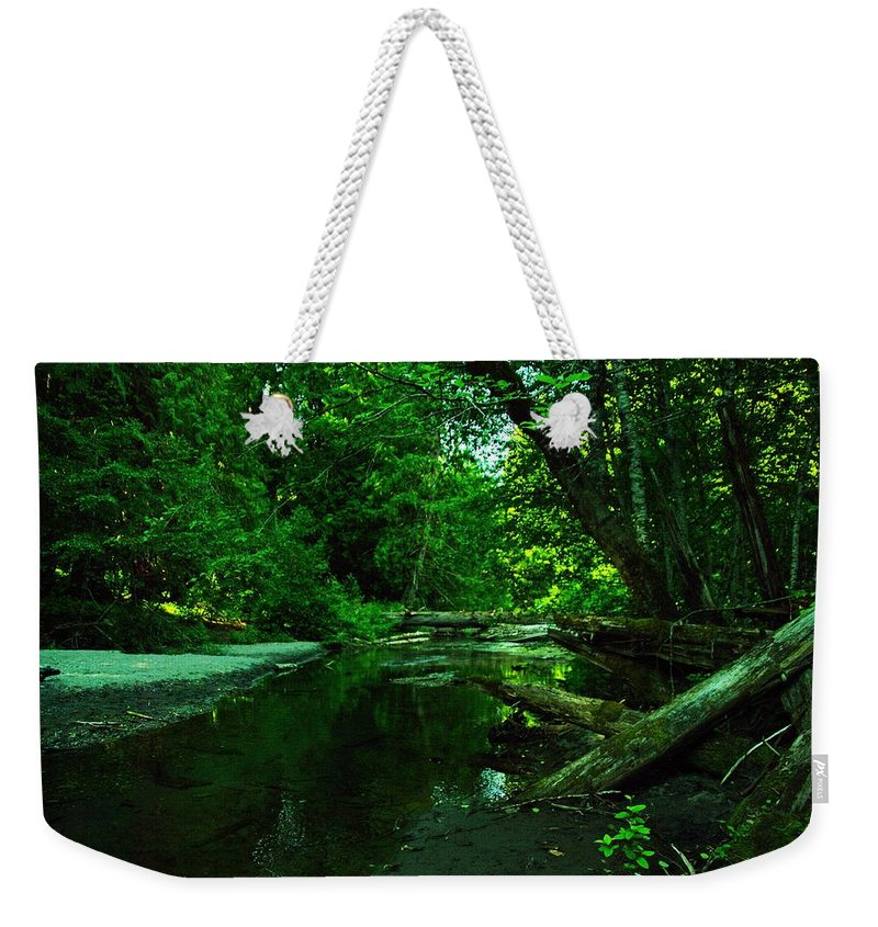 Water Weekender Tote Bag featuring the photograph Still Golden Waters by Jeff Swan