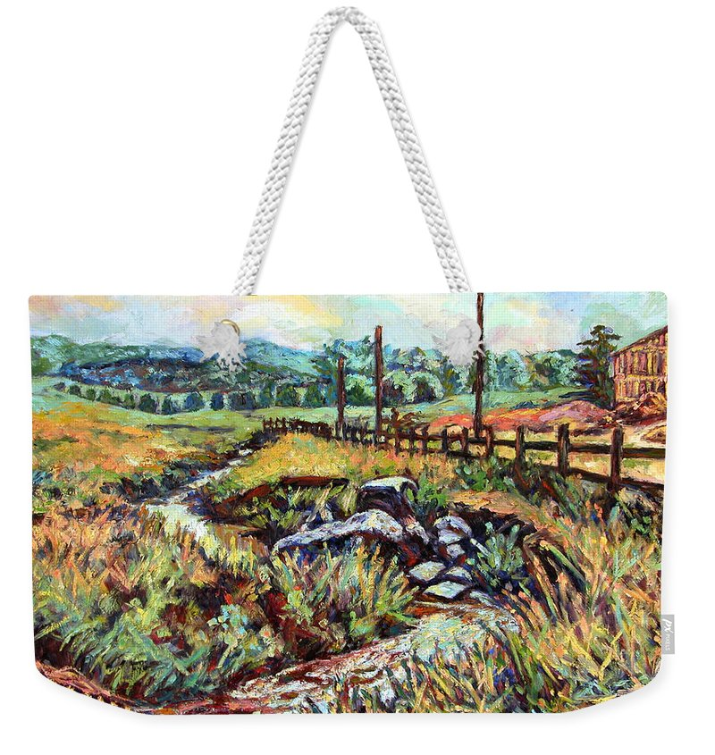 Landscape Paintings Weekender Tote Bag featuring the painting Stroubles Creek by Kendall Kessler