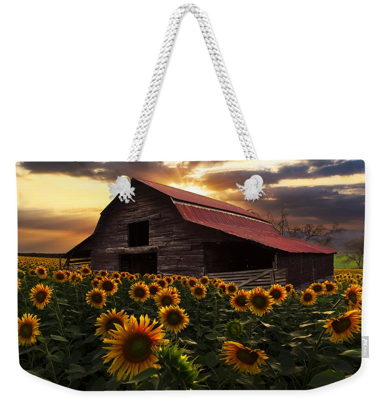 Appalachia Weekender Tote Bag featuring the photograph Sunflower Farm by Debra and Dave Vanderlaan