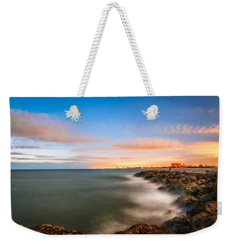 Sunrise Weekender Tote Bag featuring the photograph Sunrise Ft. Pierce Inlet by Clyde Scent