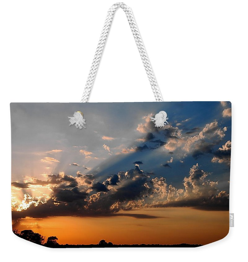Sun Weekender Tote Bag featuring the photograph Sunset In Seaford by Francie Davis