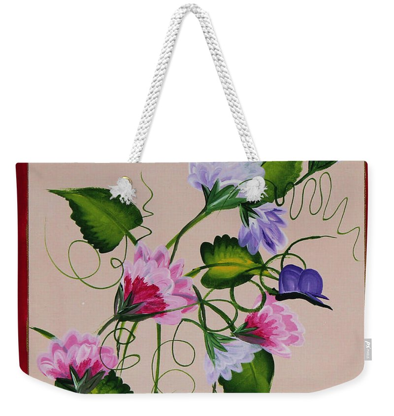 Barbara Griffin Weekender Tote Bag featuring the painting Sweet Peas And Butterflies by Barbara Griffin
