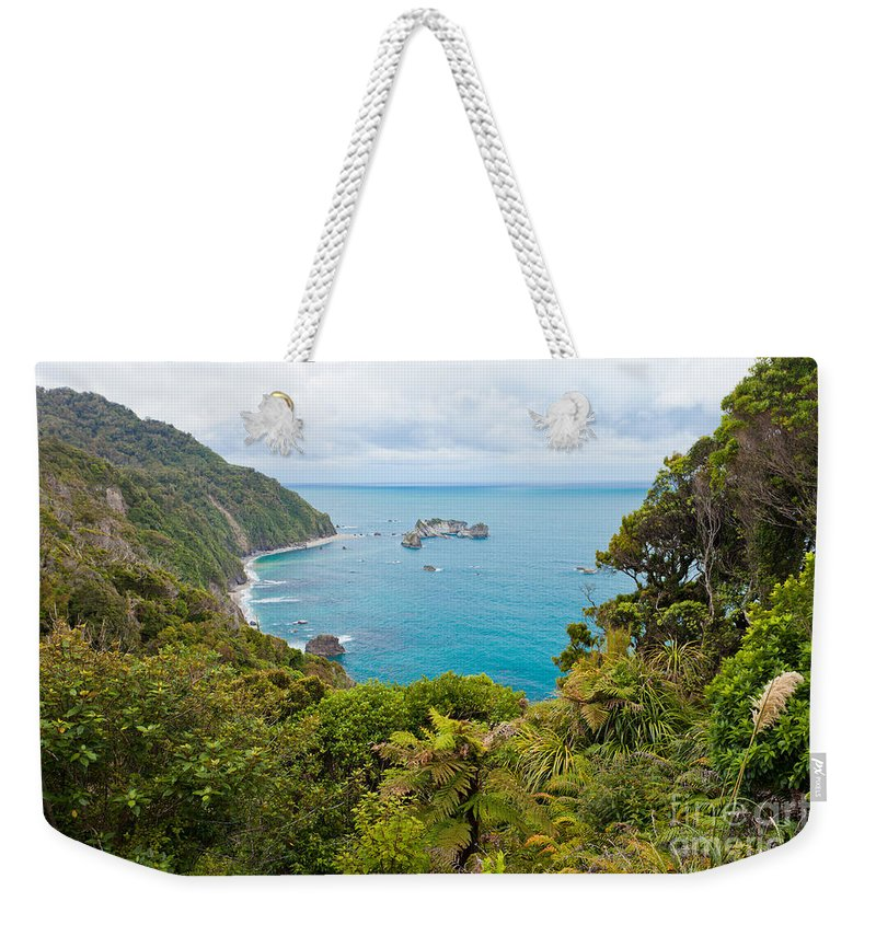 South Island Weekender Tote Bag featuring the photograph Tasman Sea At West Coast Of South Island Of New Zealand by Stephan Pietzko