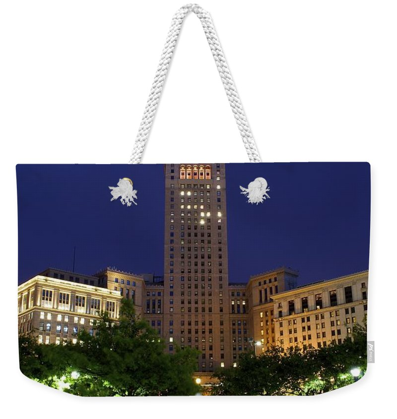 Cleveland Weekender Tote Bag featuring the photograph Terminal Tower Part Two by Frozen in Time Fine Art Photography