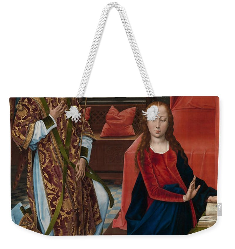 Hans Memling Weekender Tote Bag featuring the painting The Annunciation by Hans Memling