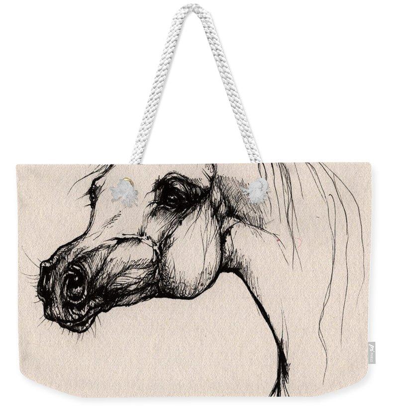 Arabian Horse Weekender Tote Bag featuring the drawing The Arabian Horse by Angel Ciesniarska
