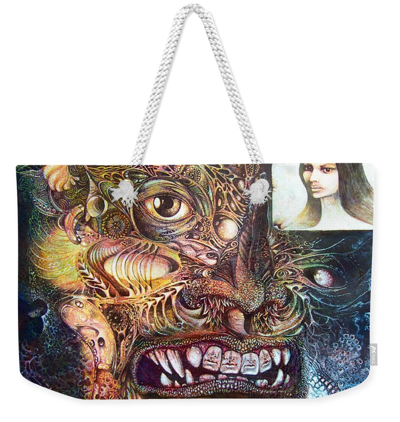 Mythology Weekender Tote Bag featuring the painting The Beast Of Babylon by Otto Rapp