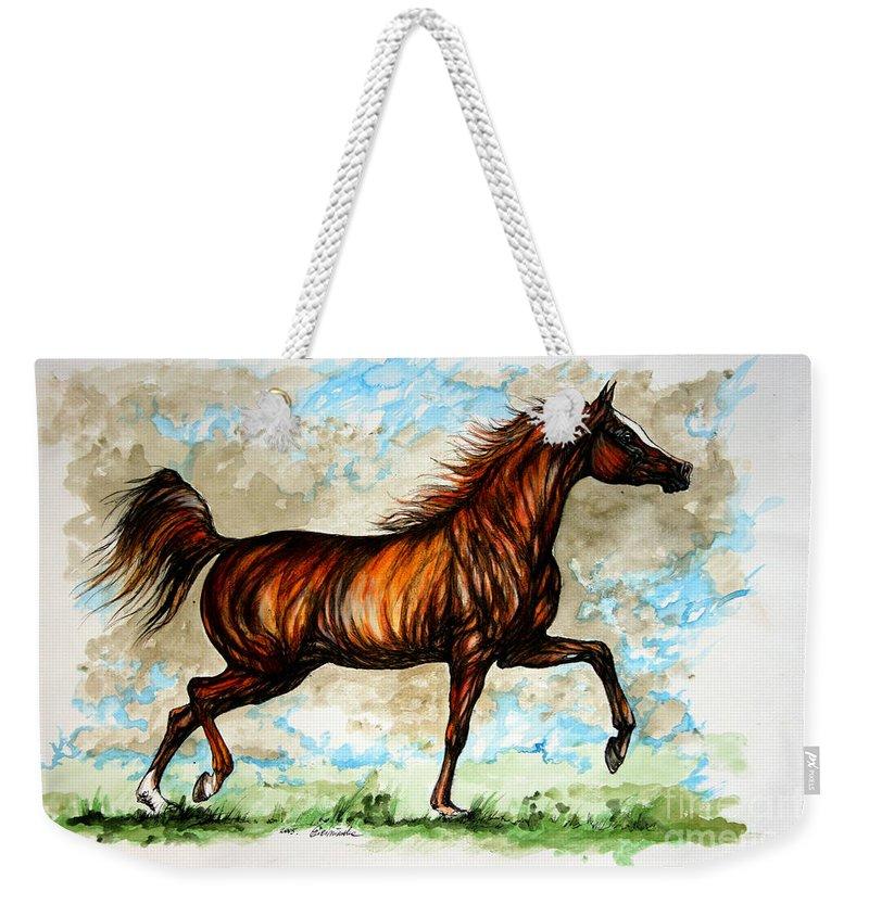 Horse Weekender Tote Bag featuring the painting The Chestnut Arabian Horse by Angel Ciesniarska