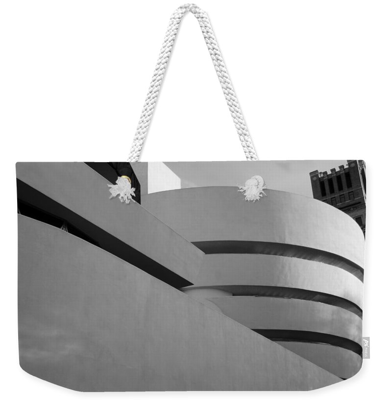 Scenic Weekender Tote Bag featuring the photograph The Guggenheim In Black And White by Rob Hans
